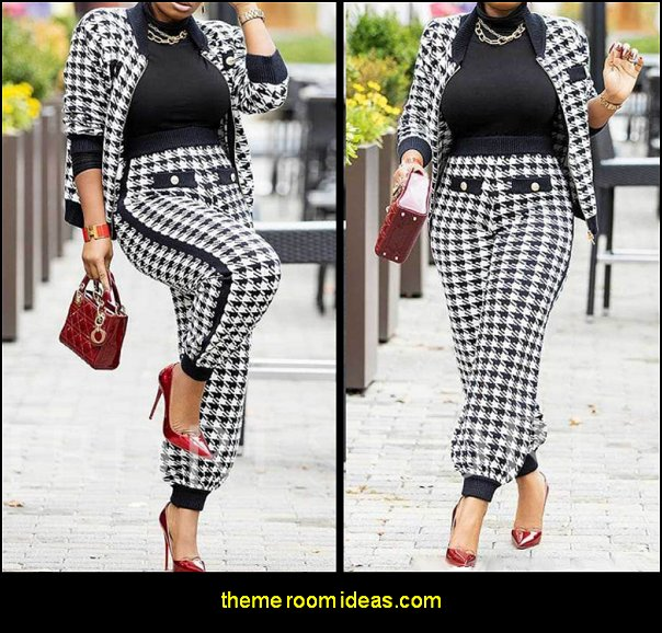 Houndstooth Pencil Pants Women's Two Piece Sets womens fashion womens clothing girls fashion