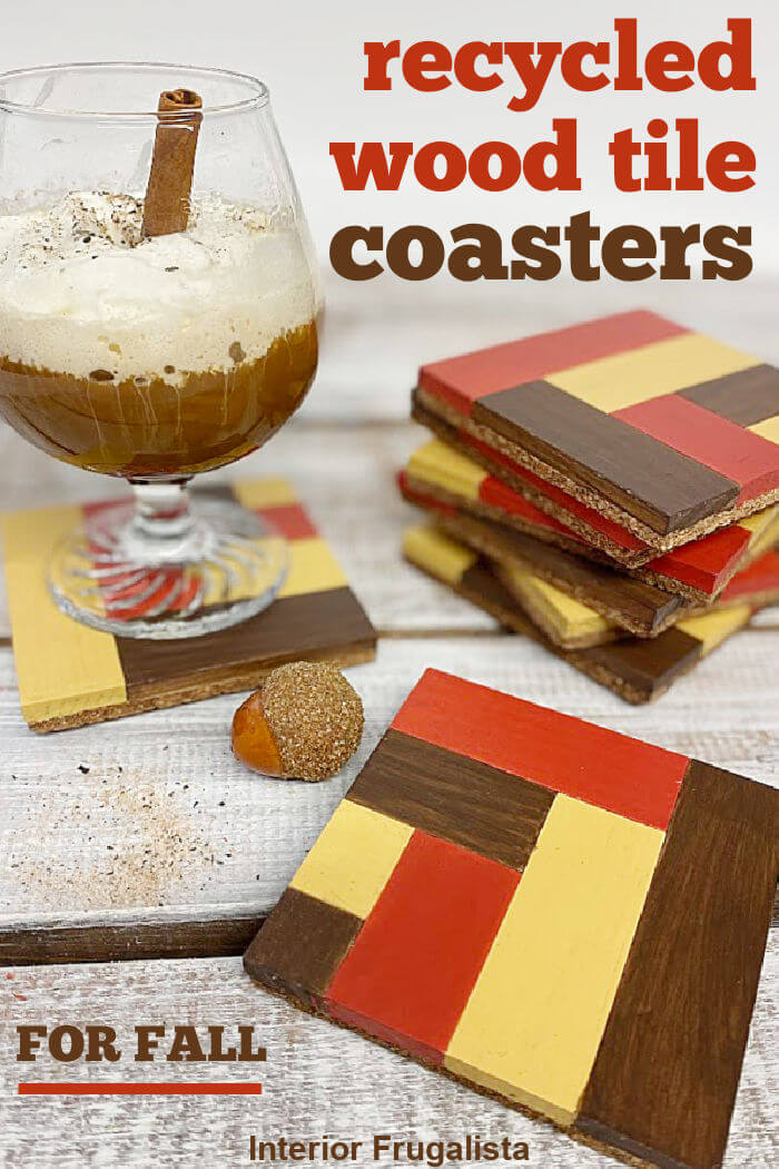 DIY instructions for how to recycle rectangular wooden blocks into unique wood tile mosaic drink coasters in pretty warm colors for fall decorating. #diydrinkcoasters #mosaicwoodtiles #woodendrinkcoasters
