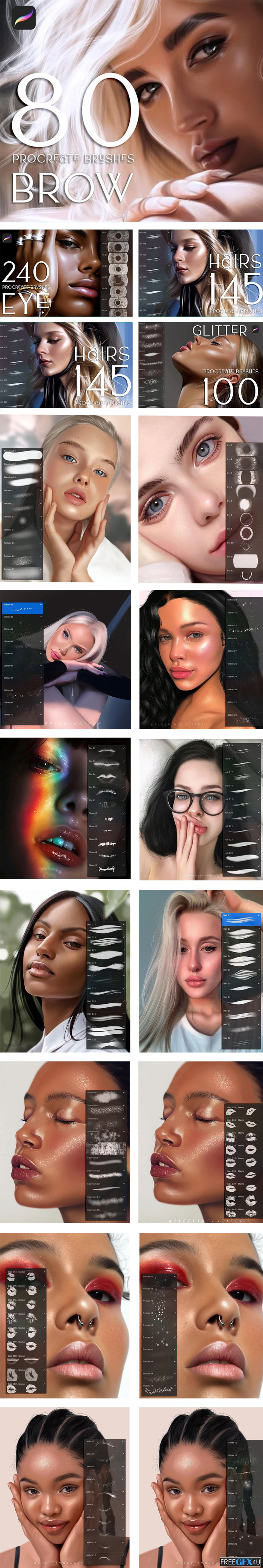 1760 Procreate Makeup Brushes