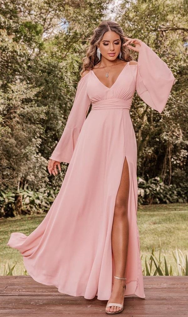 vestido longo rose madrinha de casamento intimista
