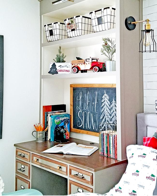 Christmas in the boy room - shelves