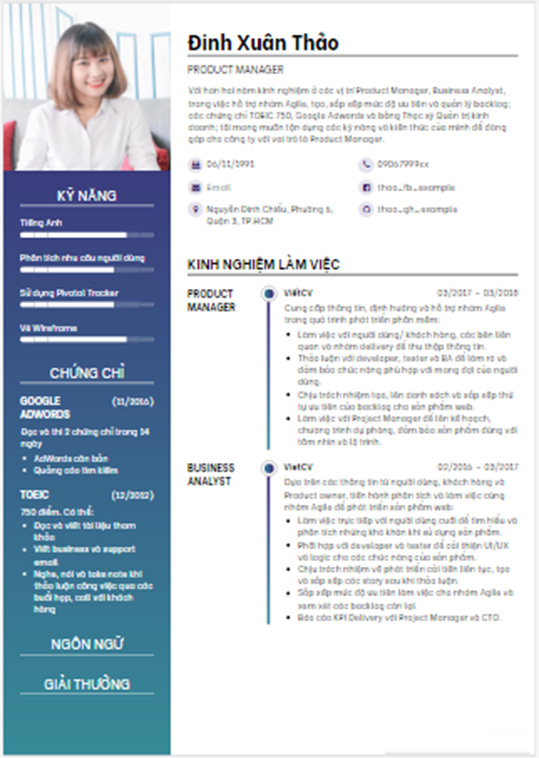 Tải mẫu CV xin việc file word đẹp hoàn chỉnh mới nhất 2021 miễn phí a