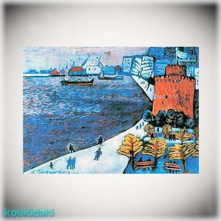 Πίνακας ζωγραφικής Πάνου Παπανάκου (Κόκκινος Λευκός Πύργος, 1978)