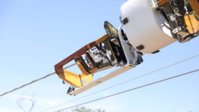 Bombyx is a robot that installs fiber in power lines.Facebook Connectivity