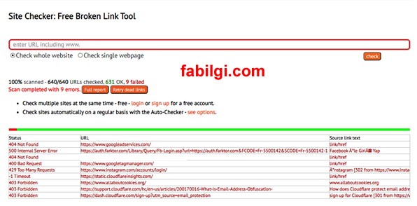 Sitedeki Hatalı Linkleri 404 Sayfaları Online Tarama Aracı