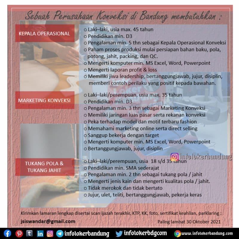 Lowongan Kerja Sebuah Perusahaan Konveksi Bandung Oktober 2021