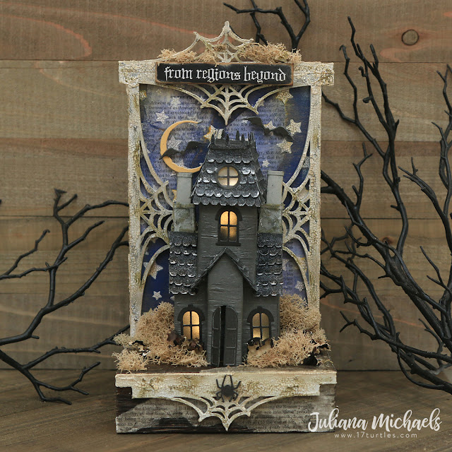 Haunted Halloween Manor by Juliana Michaels featuring Tim Holtz Sizzix Village Collection Thinlines