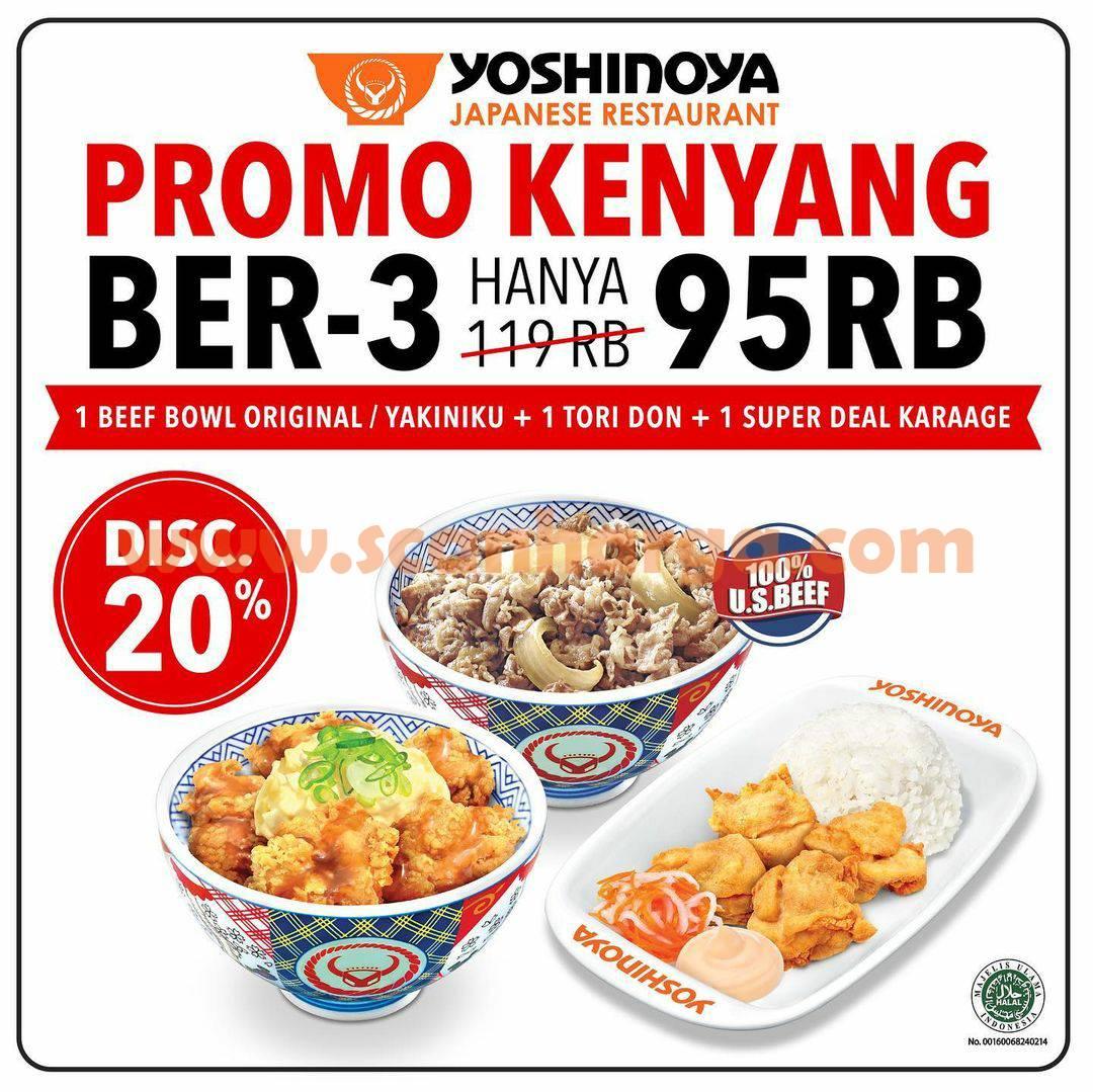 Promo YOSHINOYA GRABFOOD – Paket Spesial KENYANG BER3 Hanya Rp. 95.000