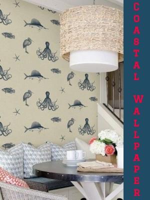 Coastal Wallpaper Accent Wall Ideas