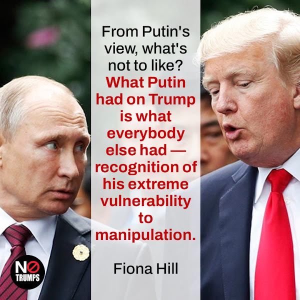 From Putin's view, what's not to like? What Putin had on Trump is what everybody else had — recognition of his extreme vulnerability to manipulation. — Fiona Hill, Trump's former Russia advisor