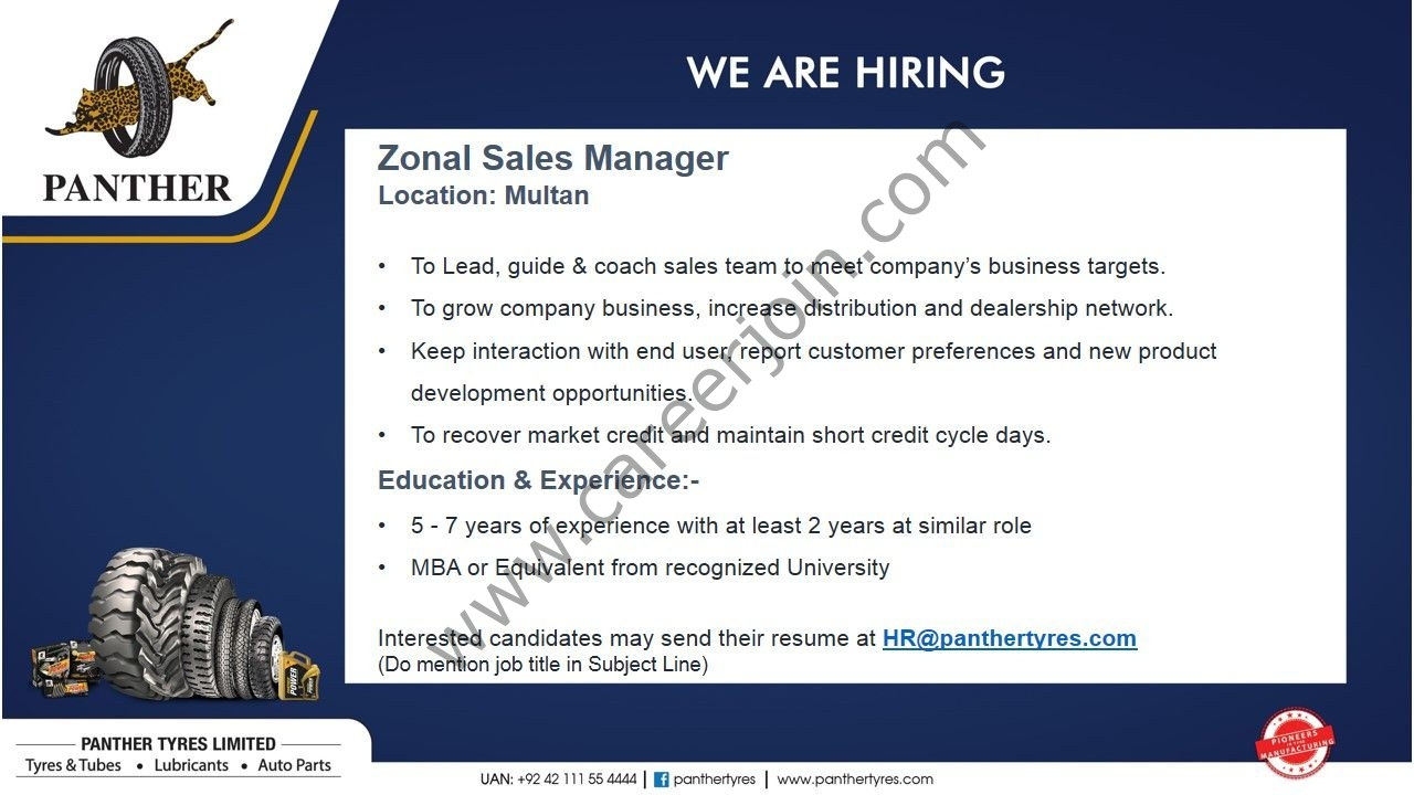 Panther Tyres Pvt Ltd Jobs Zonal Sales Manager