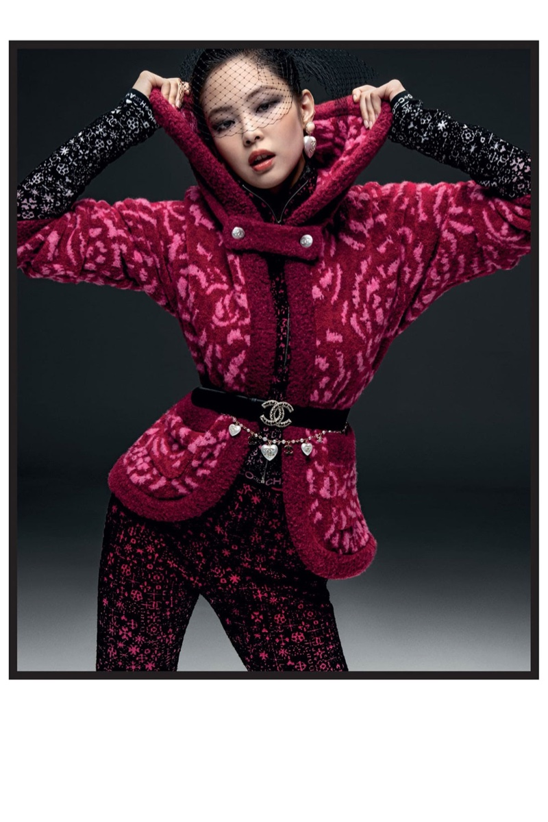 Rocking pink prints, Jennie fronts Chanel Coco Neige 2021 campaign.