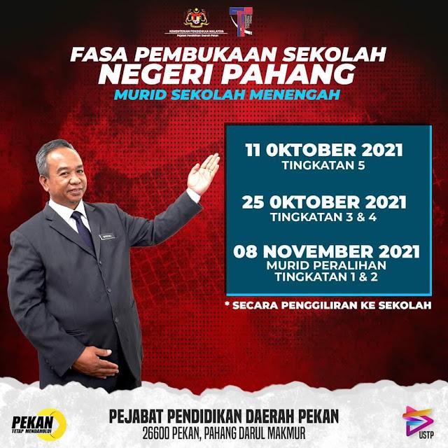 Info Fasa Pembukaan Sekolah Negeri Pahang