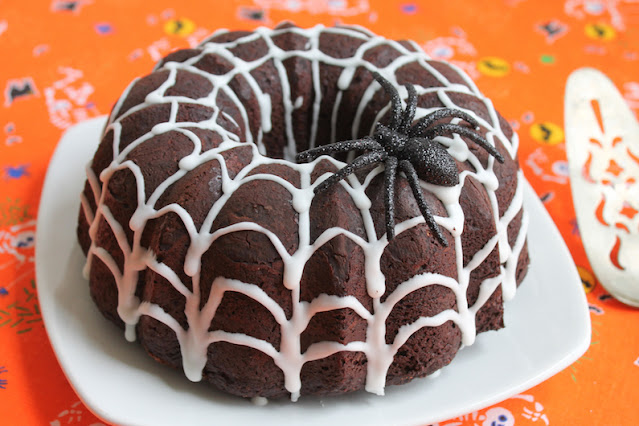 Food Lust People Love: This Chocolate Spider Web Bundt Cake is super chocolate-y with a tender, light crumb and just the right amount of sweetness. Made with almond flour, sour cream and brown Swerve, it's keto and diabetic friendly.
