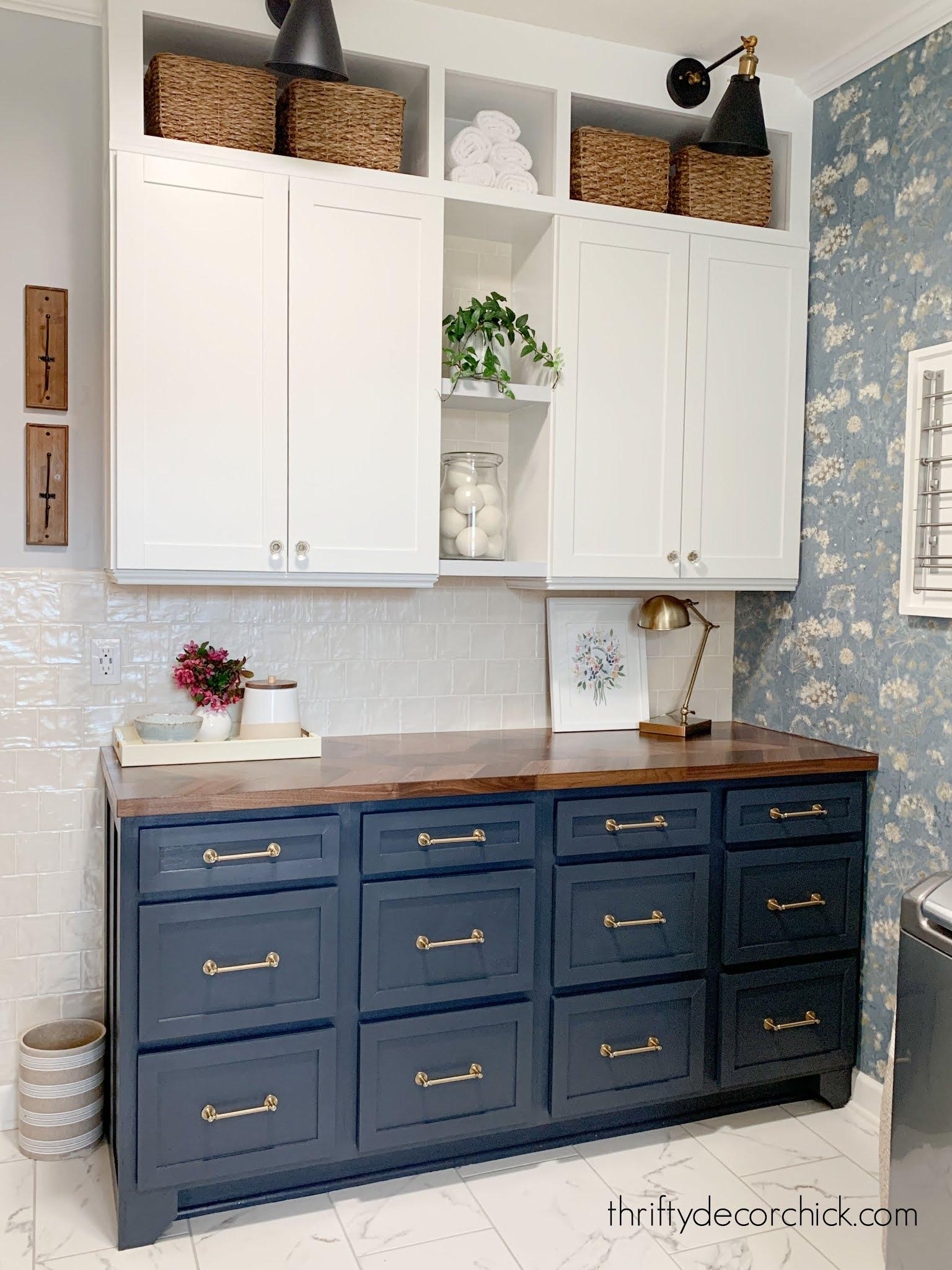 mud room dark blue base cabinets