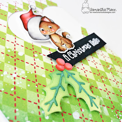 A Christmas Hello Card by Samantha Mann for Newton's Nook Designs, Christmas, Card Making, Distress Inks, Ink Blending, Die Cutting, Kittens #newtonsnook #newtonsnookdesigns #distressinks #christmascard #cardmaking