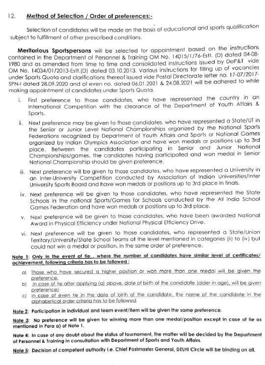 Indian Post Office Sport Quota recruitment 2021 in Delhi State