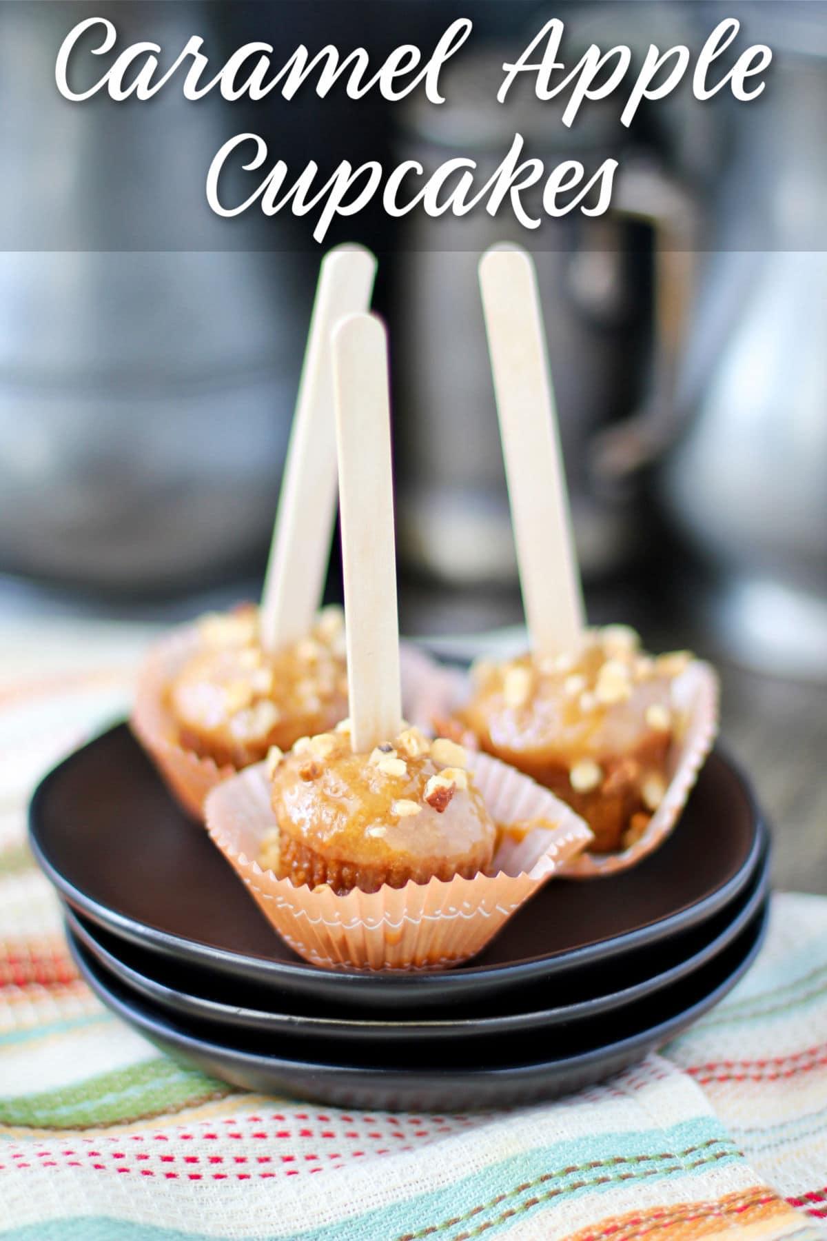 Caramel Apple Cupcakes on a plate.
