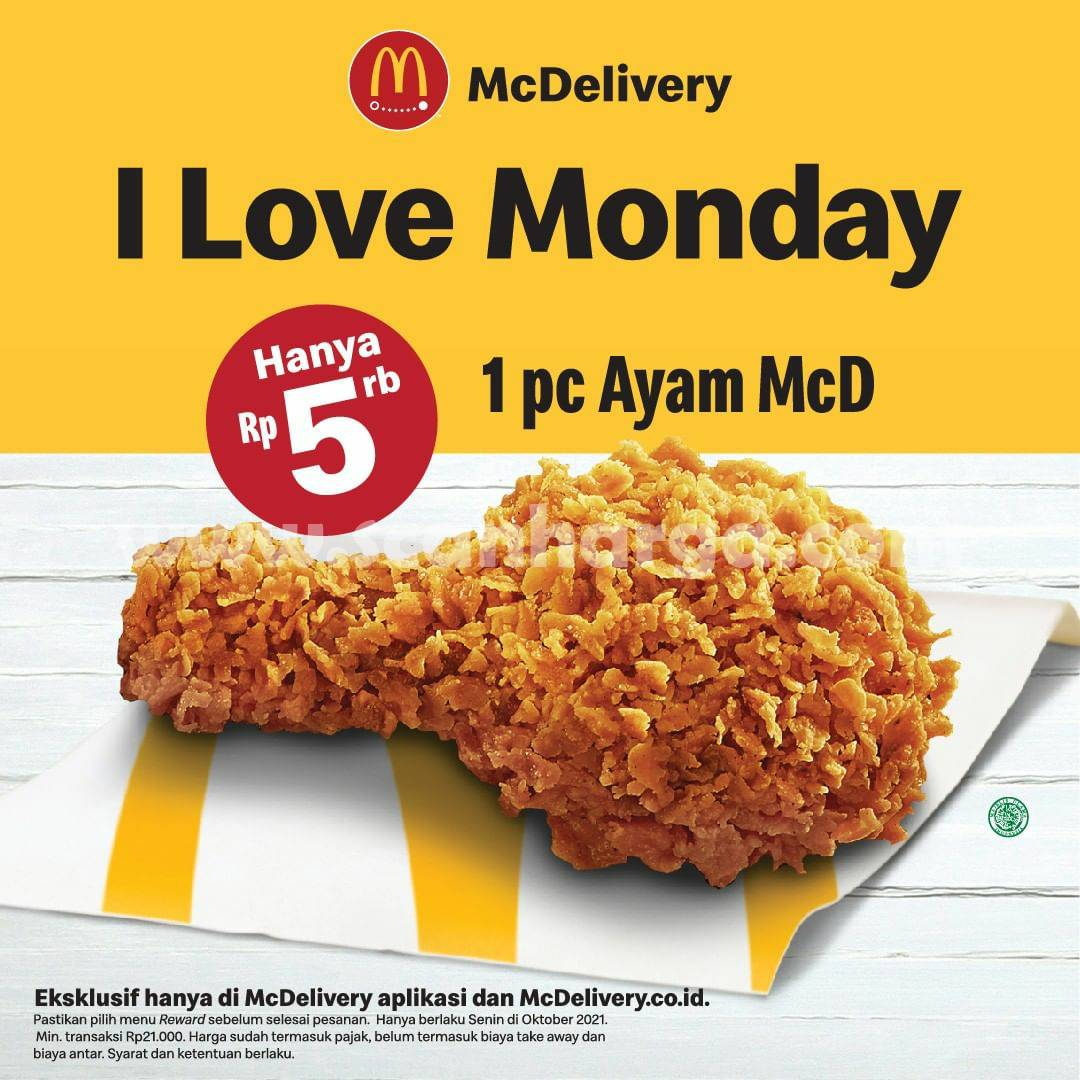 Promo McDonalds  I LOVE MONDAY - Beli 1pc Ayam McD hanya Rp5.000,-
