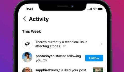 Instagram notifies users when the service is down