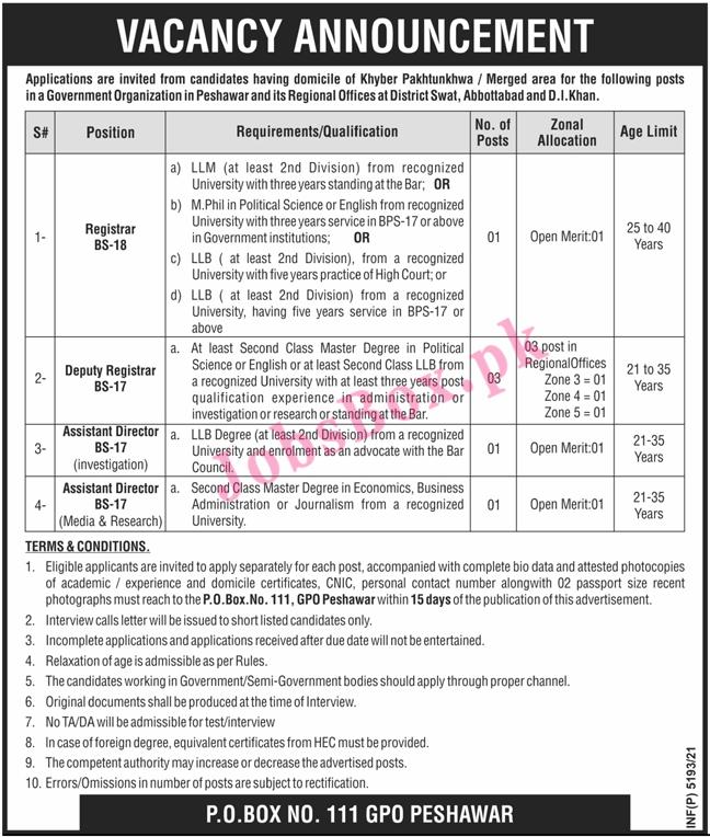 Public Sector Organization PO Box 111 GPO Peshawar Jobs 2021 in Pakistan
