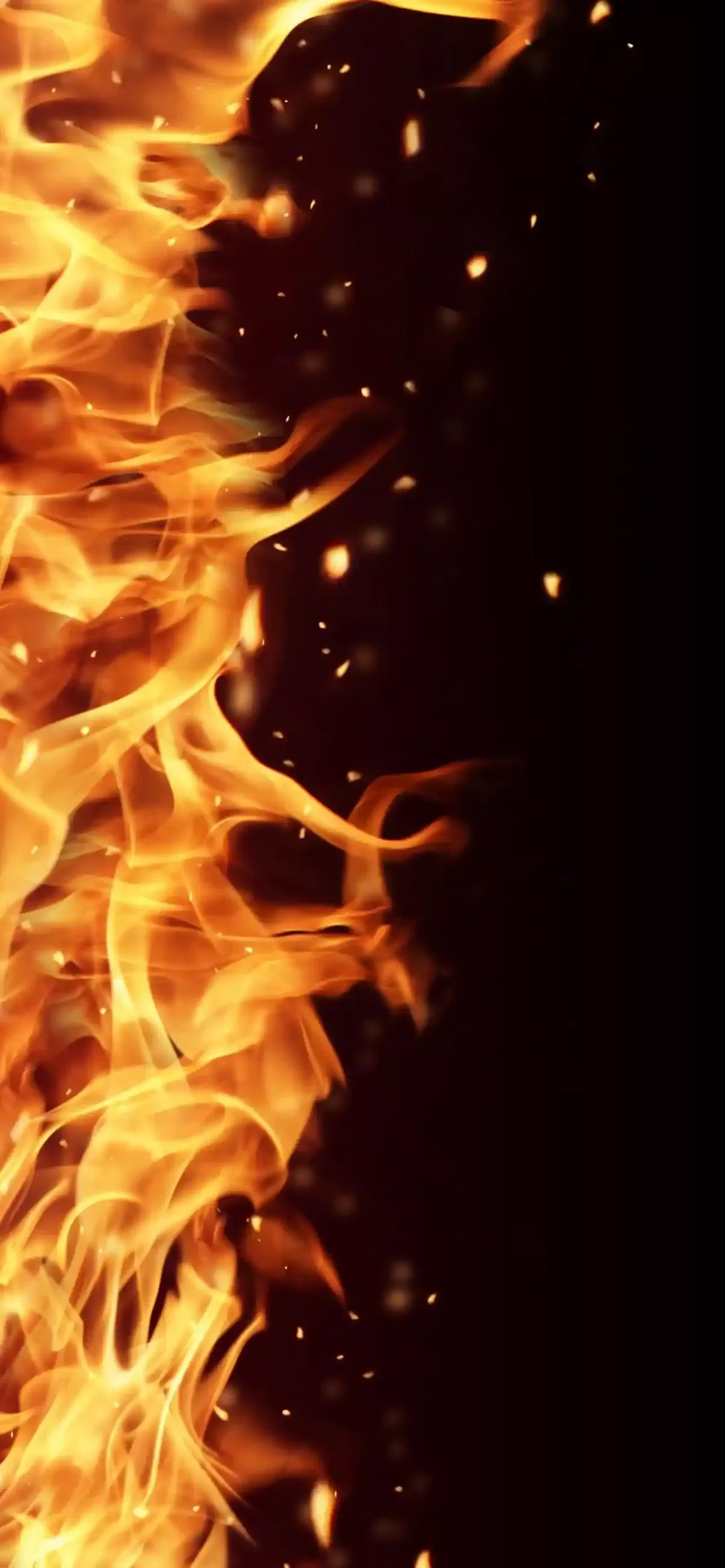 Solid black background with fire