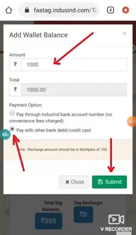 Enter recharge amount and click on Submit