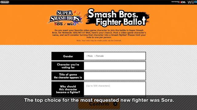 Sora winner Smash Bros. Fighter Ballot