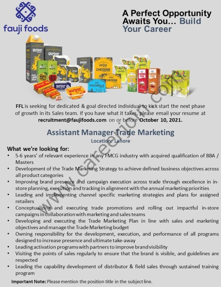 Jobs in Fauji Foods Limited