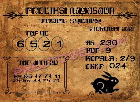 Prediksi Nagasaon Togel Sidney Kamis 21-Okt-2021