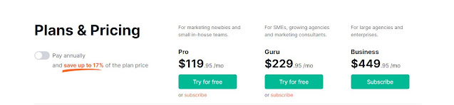 SEMRUSH - MONTHLY PRICING PLANS
