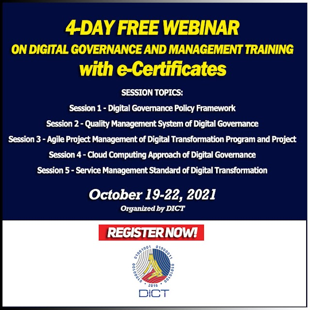 4-DAY FREE WEBINAR ON DIGITAL GOVERNANCE AND MANAGEMENT TRAINING | with e-Certificates | October 19-22, 2021