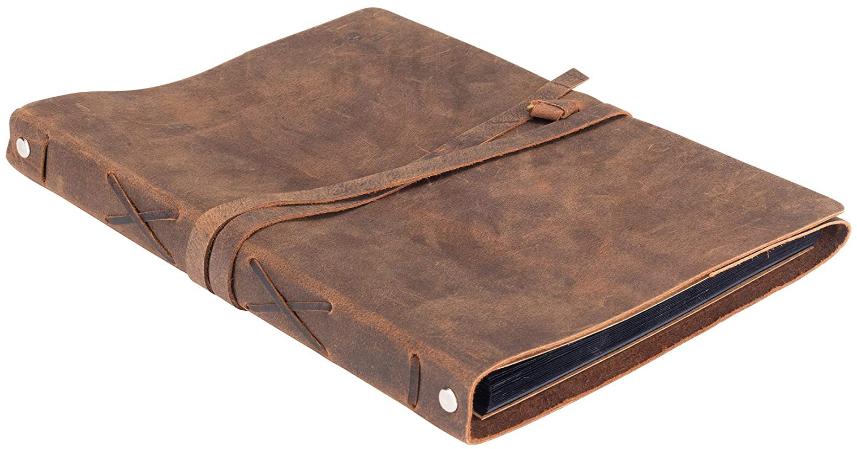 leather scrapbook and photo album