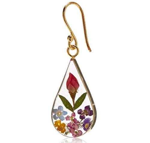 translucent teardrop-shape flower earrings