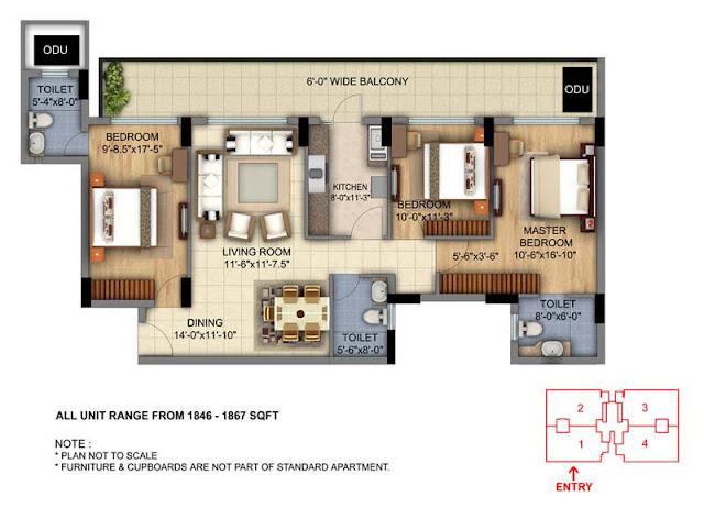 DLF Skycourt 3BHK Type 1 Floor Plan