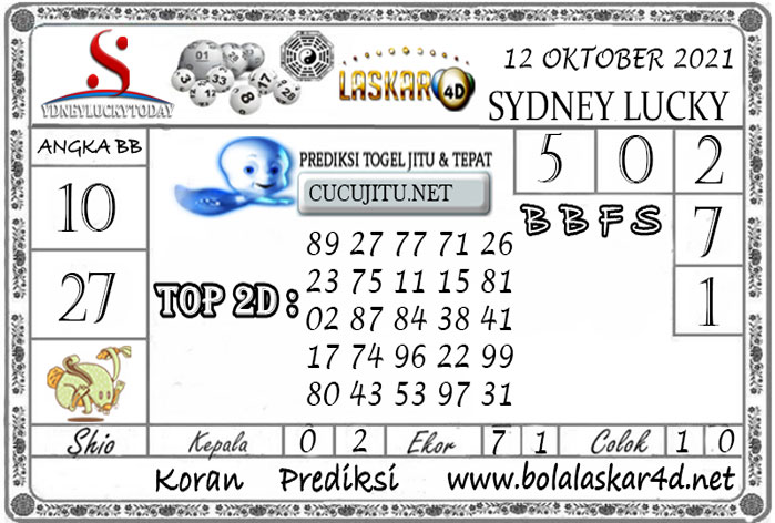 Prediksi Togel Sydney Lucky Today LASKAR4D 12 OKTOBER 2021
