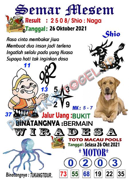 Syair Semar Mesem Togel Macau Selasa 26-10-2021