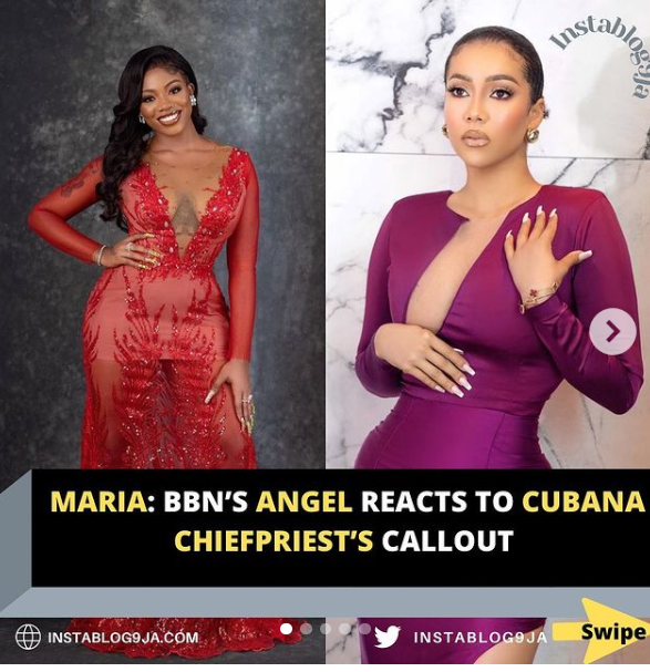 Reactions as Angel shades Maria after Cubana Chiefpriest called her out over husband snatching (Video)