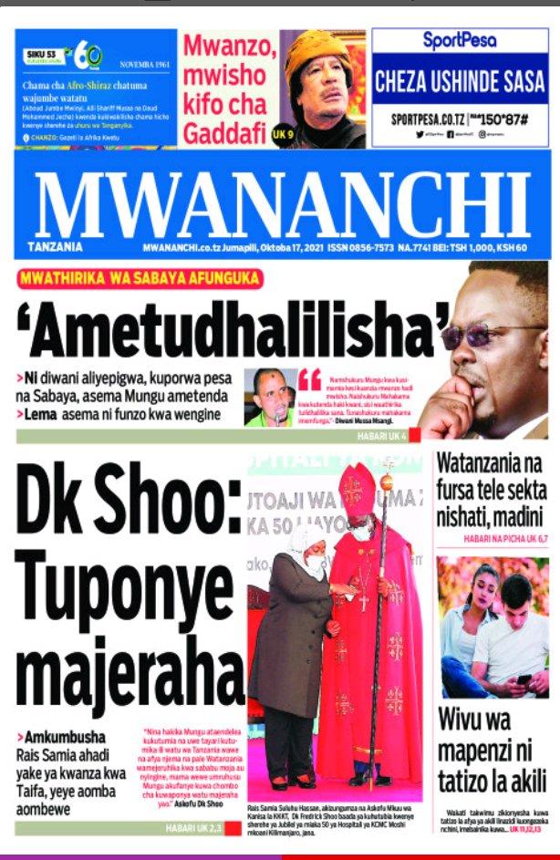 Habari kubwa za Magazeti ya Tanzania leo Oktoba 17, 2021