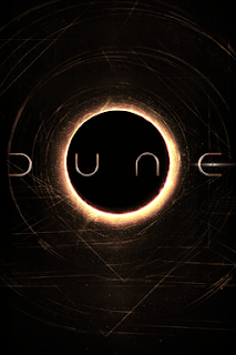 Dune written in curved letters over a gold ring shape on a black background