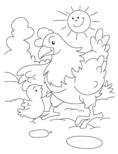 Cute Chicken Coloring Pages PDF for Children