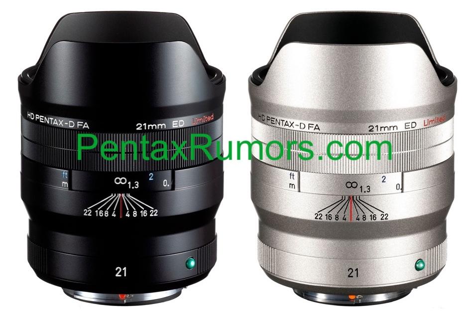 Объектив HD Pentax-D FA 21mm f/2.4 ED в черном и серебристом исполнении