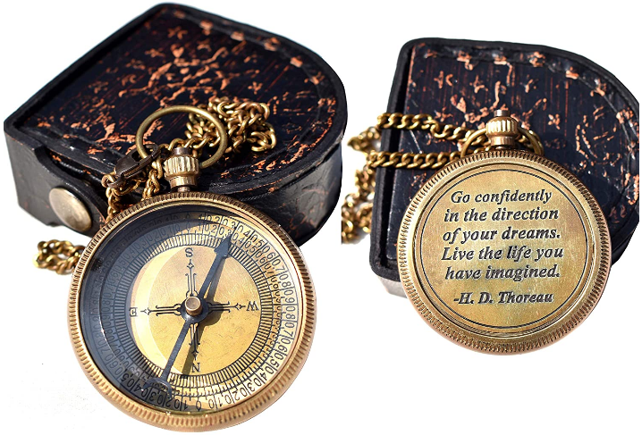 engraved compass with antique leather case