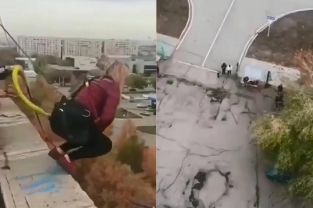 """На видео попало, как в Караганде экстремалка погибла, прыгнув с тарзанки под крик """"Я тебя люблю"""""""