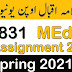 AIOU 831 Foundation of Education Solved Assignment Spring 2021