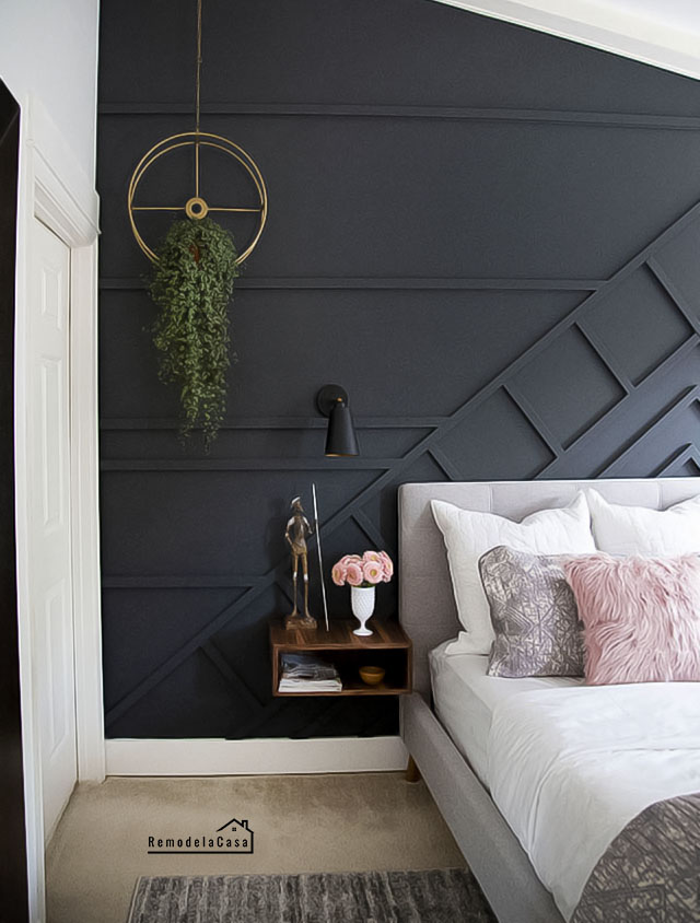 Modern Bedroom  with hanging planter