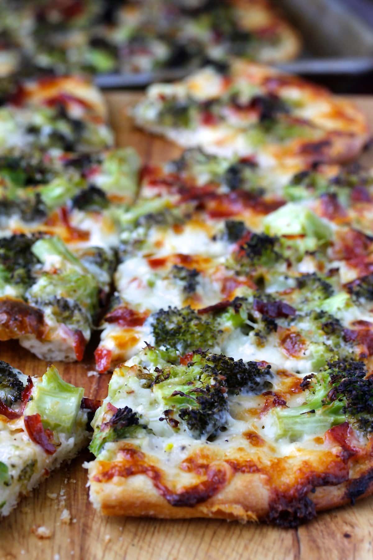 Broccoli Pizza with Pepperoni.