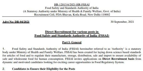 All India Food Department Recruitment 2021