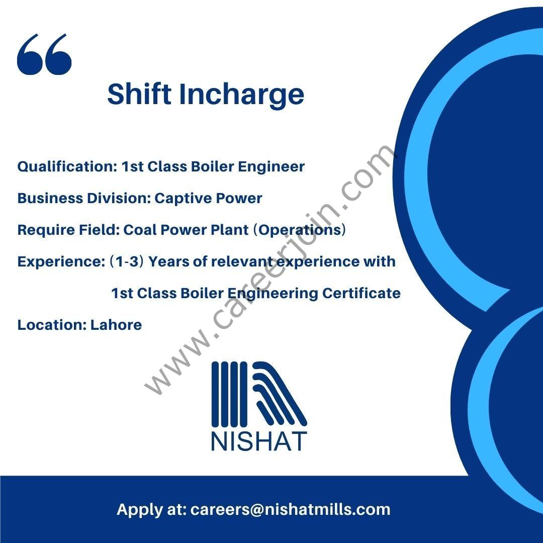 Nishat Mills Limited Jobs Shift Incharge