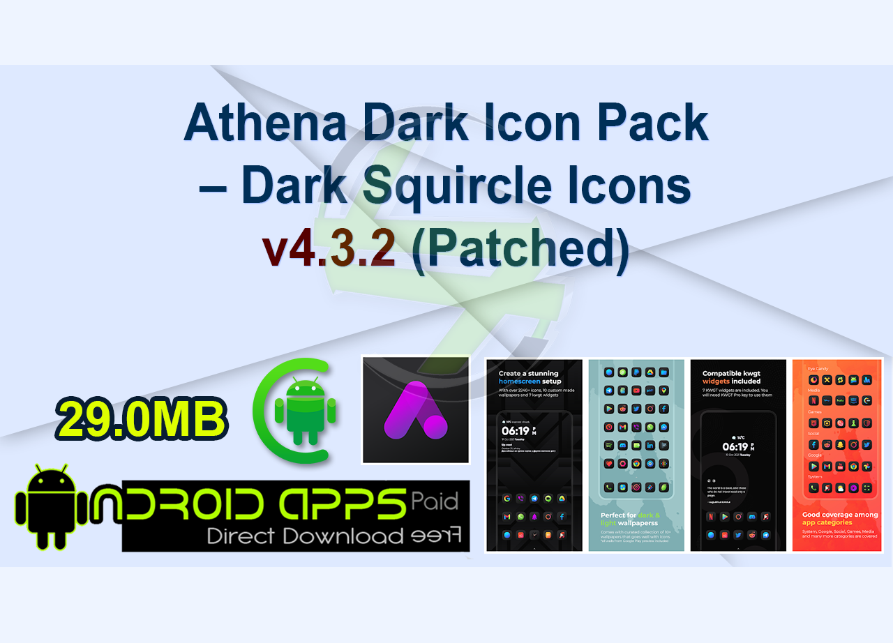 Athena Dark Icon Pack – Dark Squircle Icons v4.3.2 (Patched)